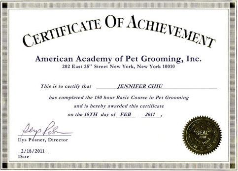 American Academy of Pet Grooming dog grooming certification for Jennifer Chiu